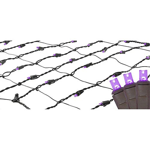 Northlight 2' x 8' Purple LED Tree Net Style Trunk Wrap Christmas Lights - Brown Wire
