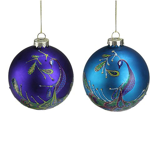 """Set of 2 Regal Peacock Purple and Blue Glass Ball Christmas Ornaments 4"""""""