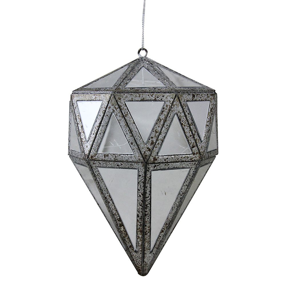 "Northlight 5.5"" Gray and Clear Mirrored Geometric Drop Christmas Ornament"