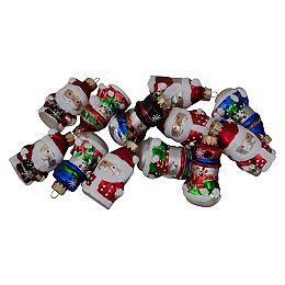 "12ct Assorted Winter Snowmen and Santa Claus Christmas Figurine Ornament Set 2"""