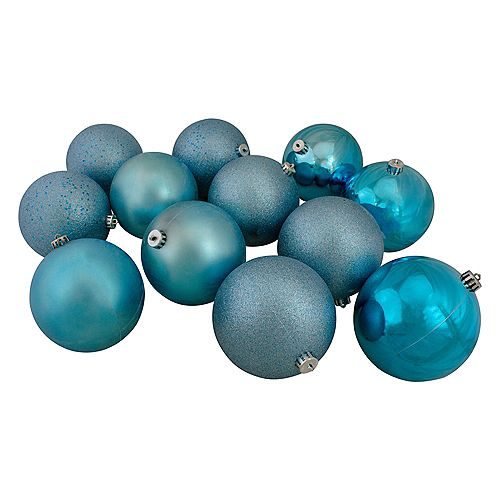 """12ct Turquoise Blue Shatterproof 4-Finish Christmas Ball Ornaments 6"""" (150mm)"""