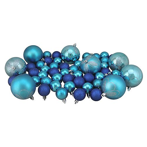 """125ct Peacock Blue Shatterproof 4-Finish Christmas Ornaments 5.5"""" (140mm)"""