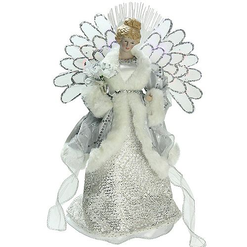 """Northlight 13"""" Gray and Silver Lighted Fiber Optic Angel in Gown Christmas Tree Topper - Multicolor Lights"""