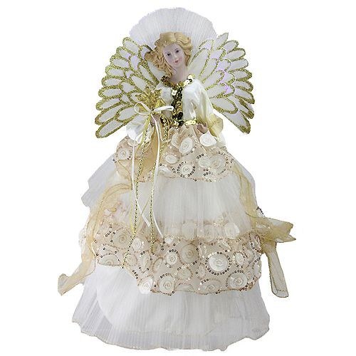 """Northlight 16"""" White and Gold Lighted Angel Sequined Gown Christmas Tree Topper"""