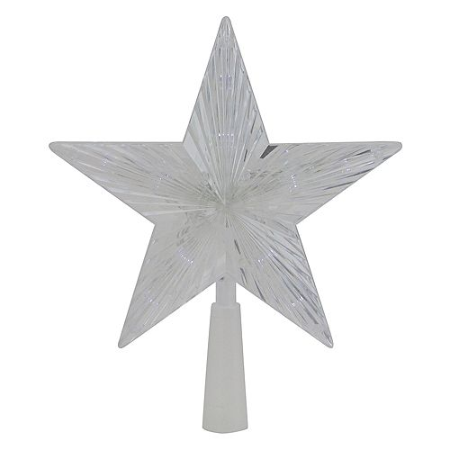 Clear Crystal Star LED Christmas Tree Topper - 10 inch  Clear Lights