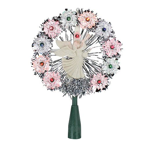 """Northlight 8"""" Silver Tinsel Wreath with Angel Christmas Tree Topper -  Multi Lights"""