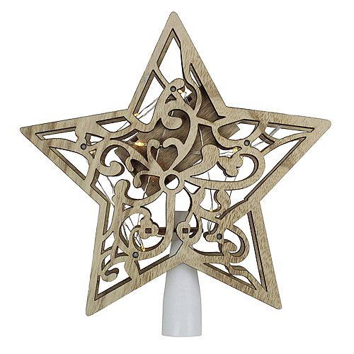 """Northlight 10"""" Lighted Battery Operated Wooden Star Christmas Tree Topper - Clear Lights"""