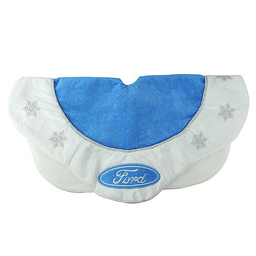 """Northlight 21.5"""" Blue and White Ford Scalloped Mini Christmas Tree Skirt"""