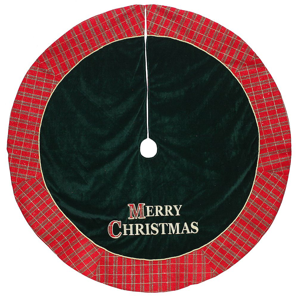 "Dyno 48"" Red and Green ""MERRY CHRISTMAS"" Glitter Plaid Tree Skirt"