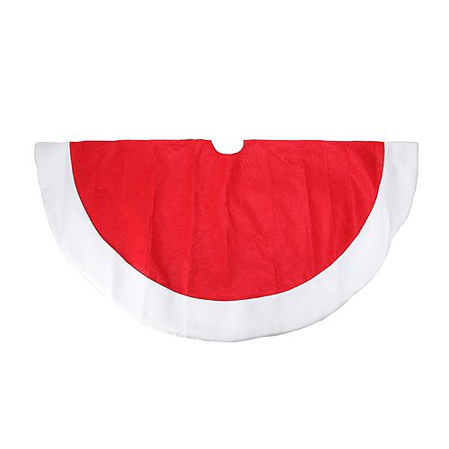 "48"" Traditional Red Christmas Tree Skirt with White Border"