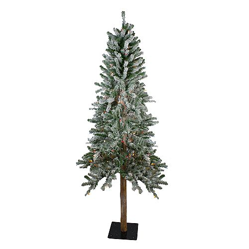 Northlight 6' Pre-Lit Flocked Alpine Artificial Christmas Tree - Multi Lights