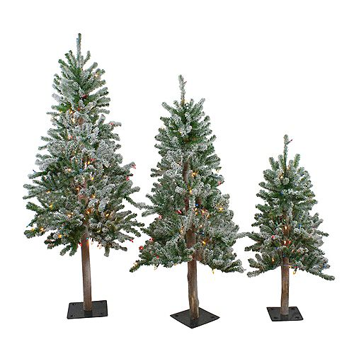 Set of 3 Pre-Lit Flocked Alpine Artificial Christmas Trees 3'  4' and 5' - Multi Lights