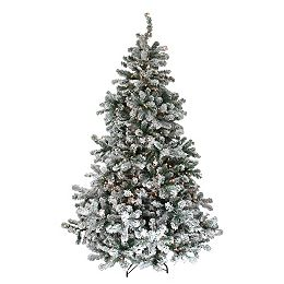 7.5' Pre-Lit Flocked Natural Emerald Full Artificial Christmas Tree - Warm Clear Lights