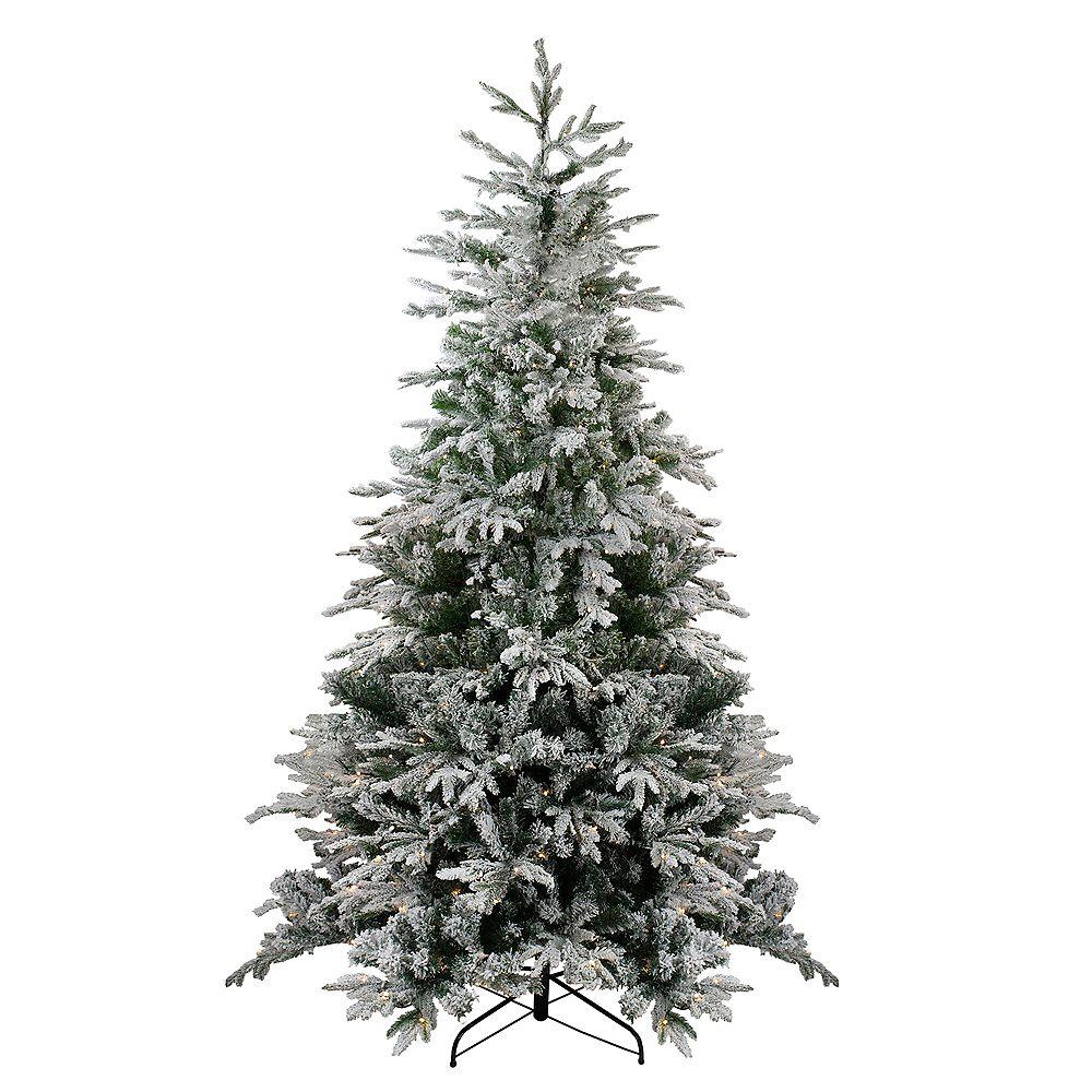 Northlight 7.5' Pre-Lit Flocked Winfield Fir Artificial Christmas Tree - Warm White LED Lights