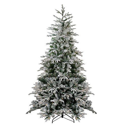 7.5' Pre-Lit Flocked Winfield Fir Artificial Christmas Tree - Warm White LED Lights