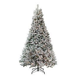 6.5' Pre-Lit Medium Heavily Flocked Pine Medium Artificial Christmas Tree - Clear Lights