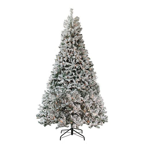 6.5' illuminée moyen très floqués Pin milieu artificiel Arbre de Noël - lumières claires