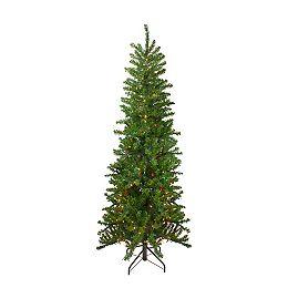 6.5' Pre-Lit Canadian Pine Artificial Pencil Christmas Tree - Multi Lights