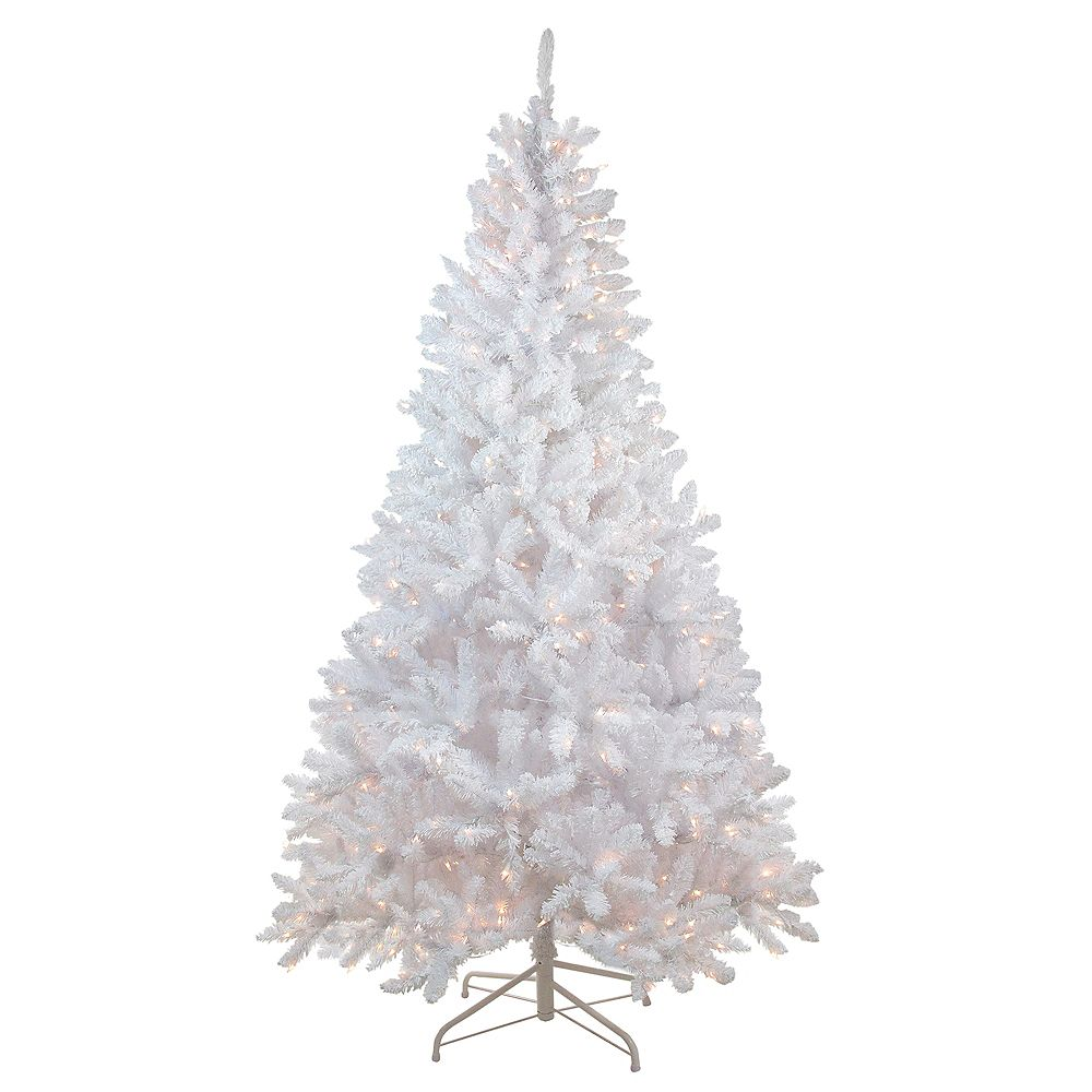 Northlight 7 Snow White Pre Lit Flocked Slim Artificial Christmas Tree Clear Lights The Home Depot Canada