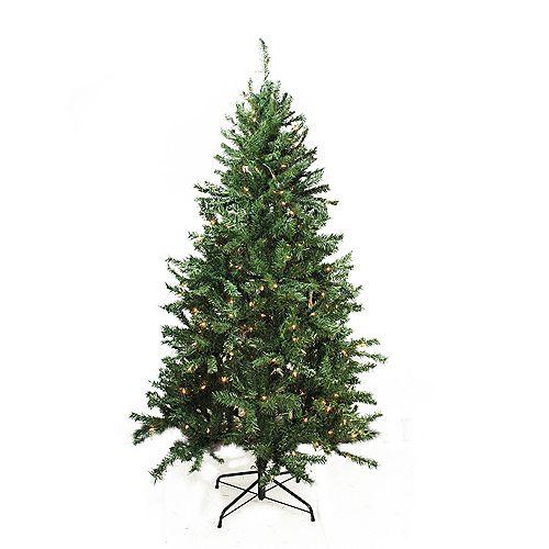 7.5' illuminée de Noël traditionnel mixte de pin artificiel arbre - lumières claires