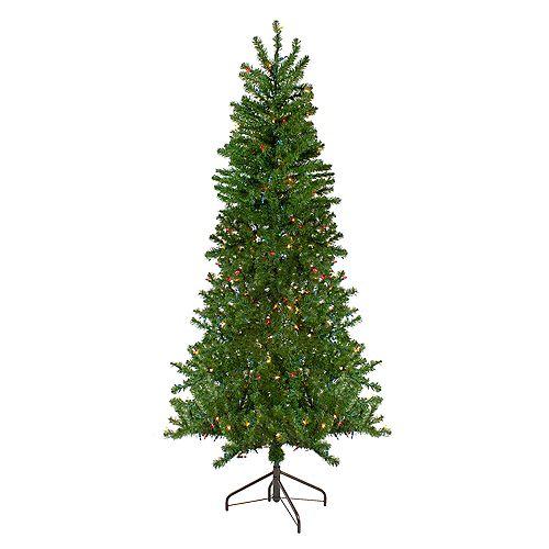 7.5' Pre-Lit Canadian Pine Artificial Christmas Wall Tree - Multi Lights