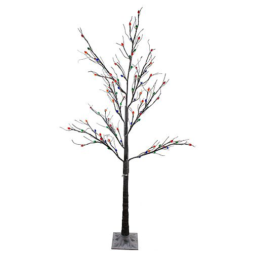 6' Pre-Lit LED Brown Artificial Christmas Tree- Multi-Colored lights