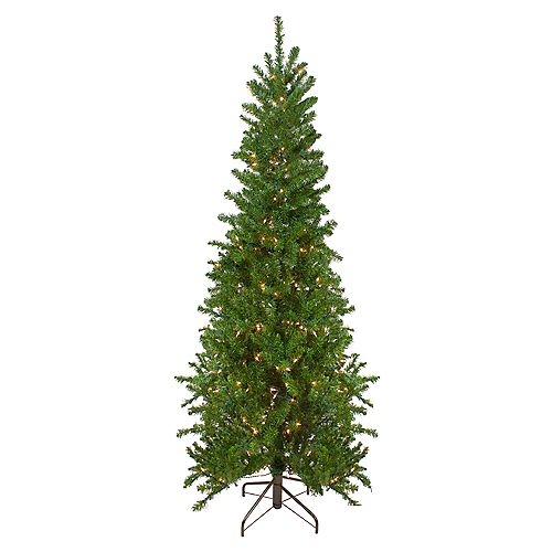 6.5' Pre-Lit Canadian Pine Artificial Pencil Christmas Tree - Clear Lights