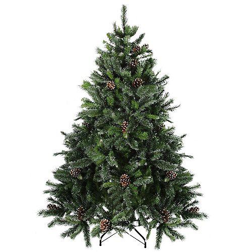 6.5' Full Snowy Delta Pine avec pin Cônes arbre de Noël artificiel - Eteinte