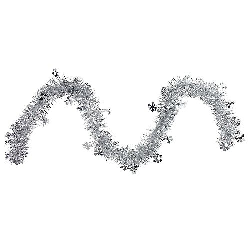 """Northlight 50"""" x 2.75' Silver Snowflakes Tinsel Artificial Christmas Garland - Unlit"""
