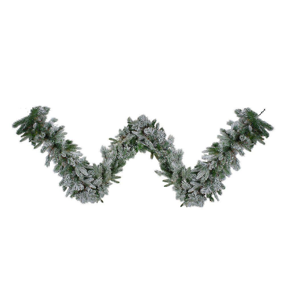 "Northlight 9' x 14"" Flocked Rose Mary Emerald Angel Pine Artificial Christmas Garland - Unlit"