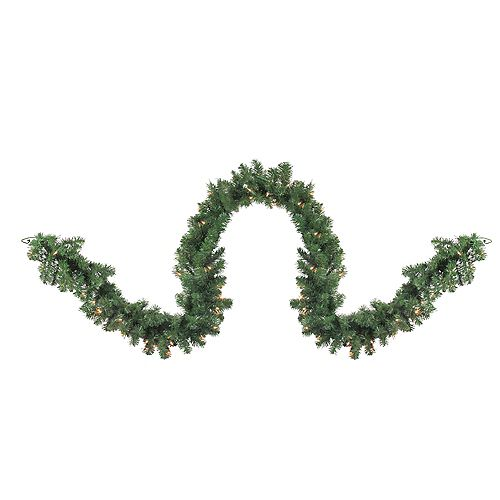 """9' x 18"""" Pre-Lit Deluxe Windsor Green Pine Christmas Garland - Clear Lights"""