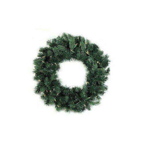 Pre-Lit Washington Frasier Fir Artificial Christmas Wreath - 24-Inch  Clear Lights