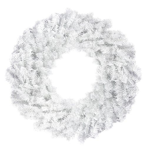 """Northlight 30"""" White Canadian Pine Artificial Christmas Wreath - Unlit"""