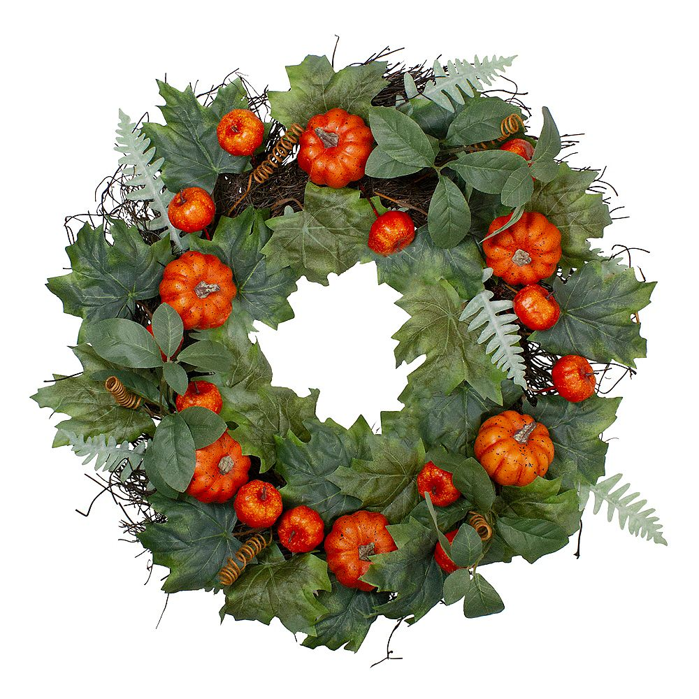 """Northlight Maple and Fern Leaves With Pumpkins Grapevine Artificial Wreath - 24""""  Unlit"""