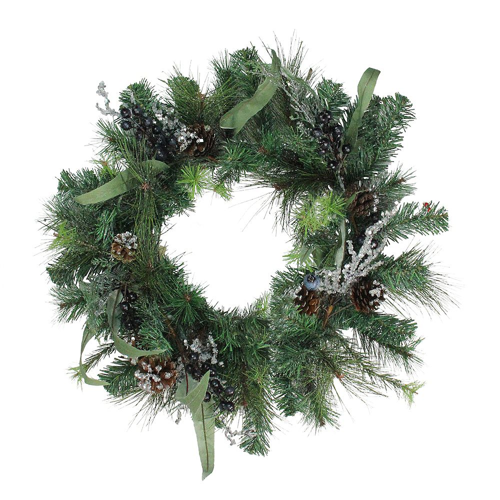 """Northlight 24"""" Artificial Mixed Pine with Blueberries  Pine Cones and Ice Twigs Christmas Wreath - Unlit"""