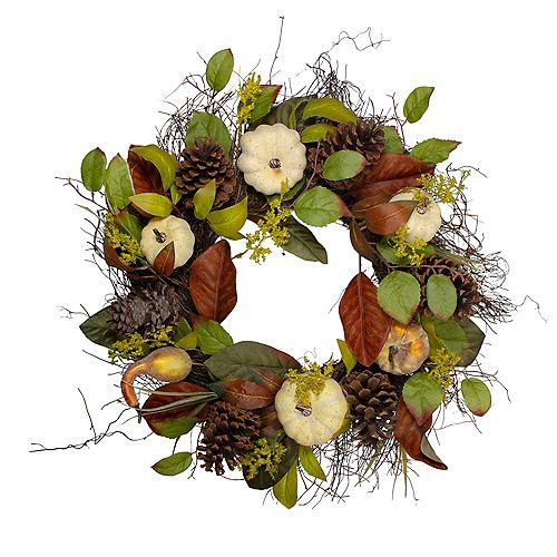Récolte d'automne citrouille Pinecone et Gourd Grapevine artificielle Couronne - 24 pouces Unlit