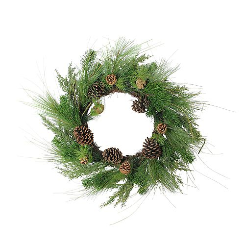 Pine Cones and Mixed Pine Needles Artificial Christmas Wreath - 24-Inch  Unlit