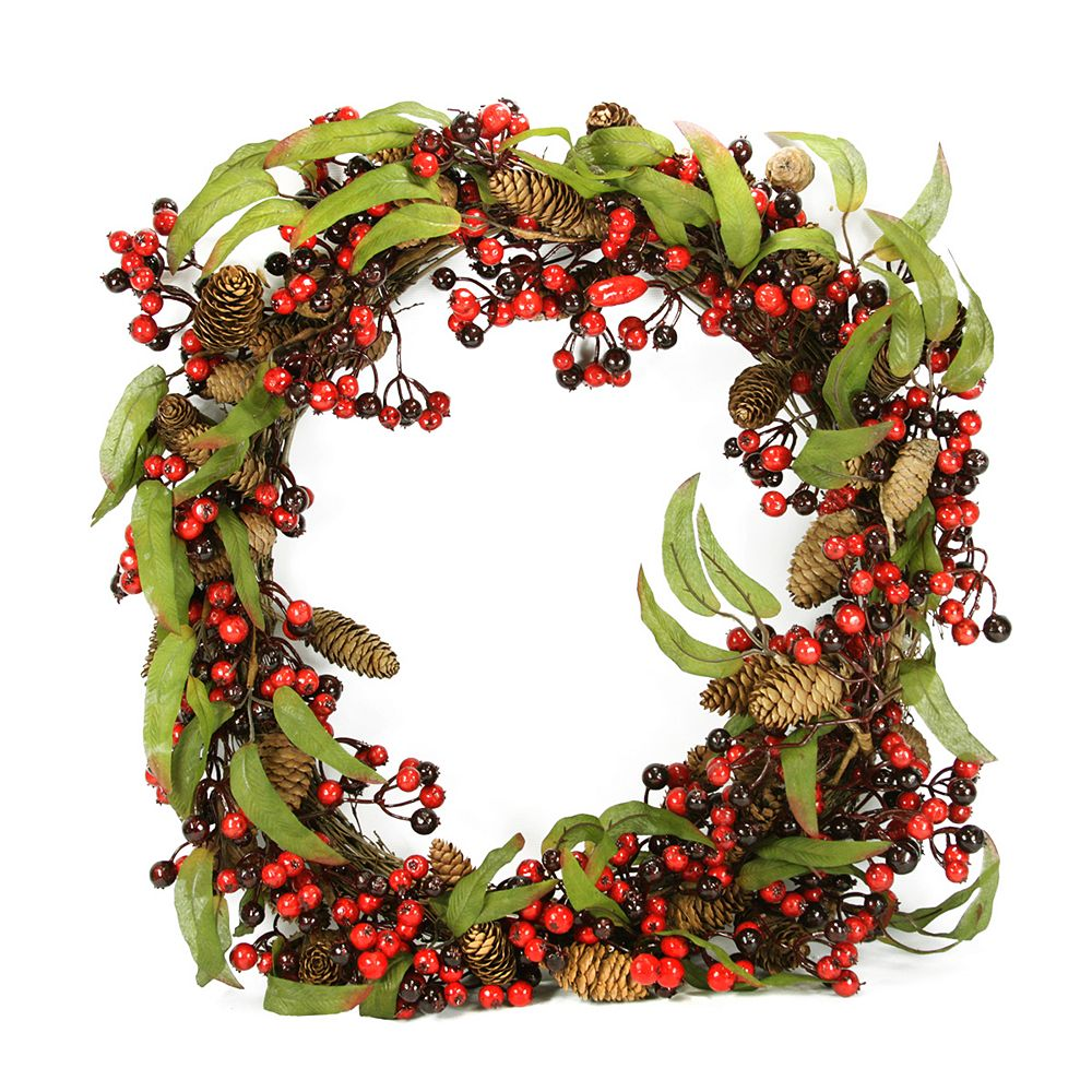 DAK Red Berry and Pine Cone Artificial Christmas Wreath - 24-Inch  Unlit