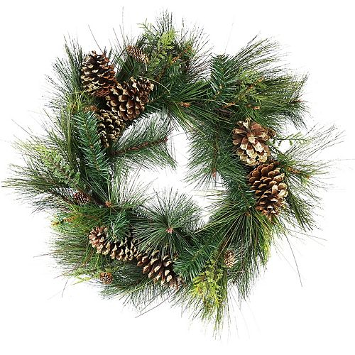 Northlight Artificial Mixed Pine with Pine Cones and Gold Glitter Christmas Wreath - 30 -Inch  Unlit