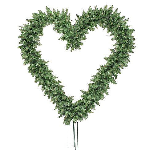 """Northlight 22"""" Green Pine Artificial Heart Shape Wreath with Ground Stakes - Unlit"""