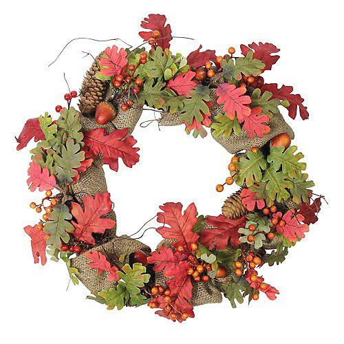 Autumn Harvest Acorn Berry and Burlap Rustic Thanksgiving Wreath - 18-Inch  Unlit