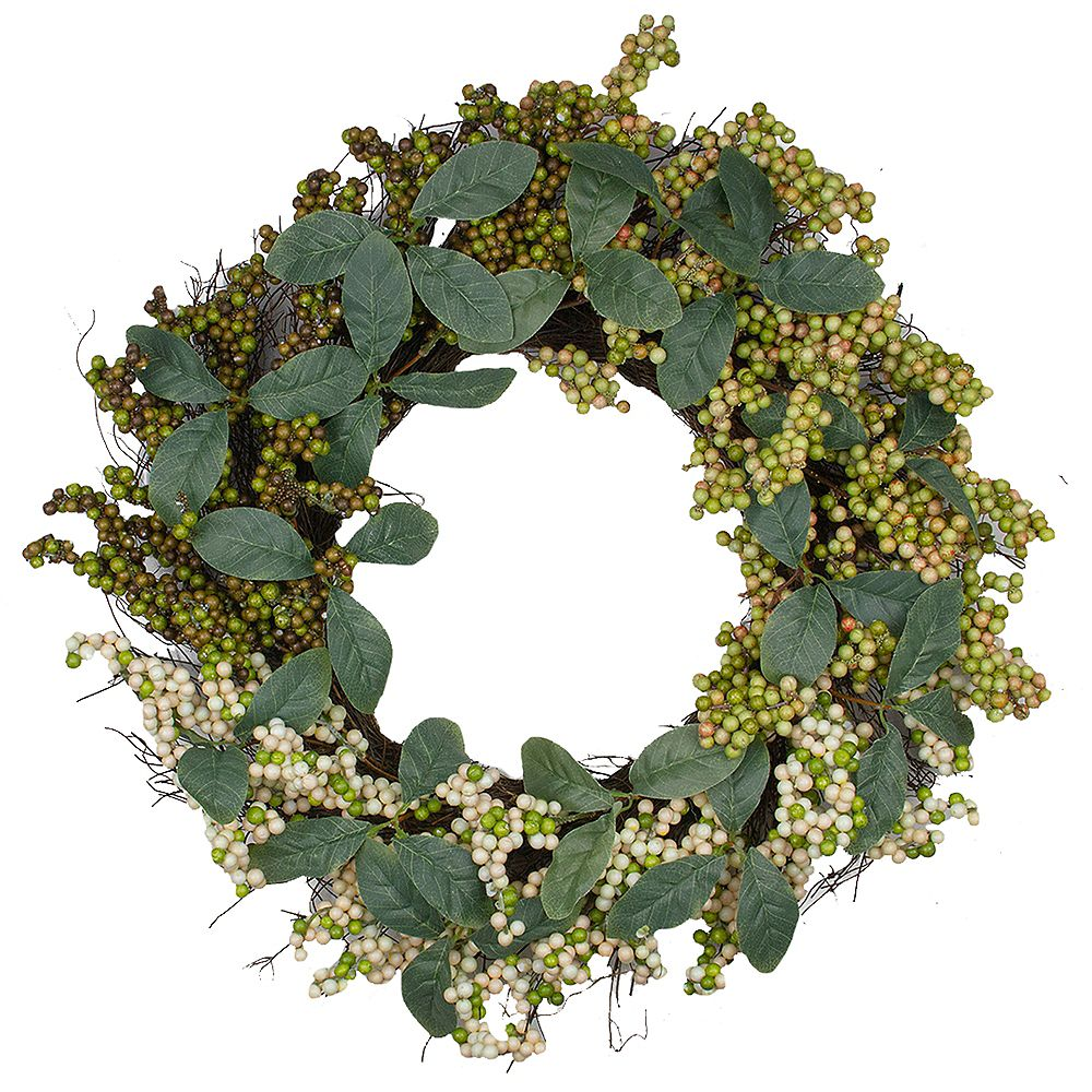 Northlight Autumn Harvest Berries With Green Leaves Artificial Grapevine Wreath - 24-Inch  Unlit