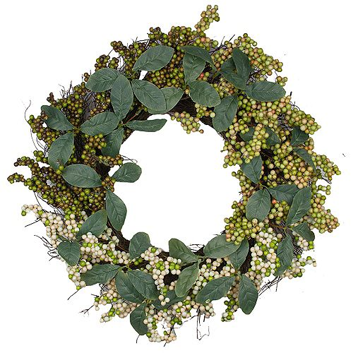 Autumn Harvest Berries With Green Leaves Artificial Grapevine Wreath - 24-Inch  Unlit