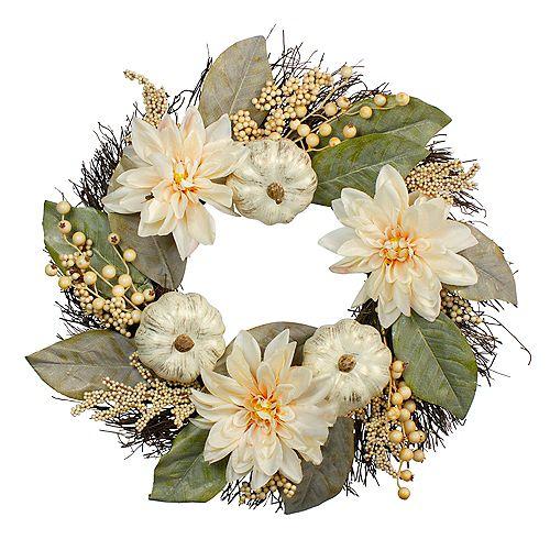 Autumn Harvest White Dahlia  Berry and Pumpkin Grapevine Wreath - 22-Inch  Unlit