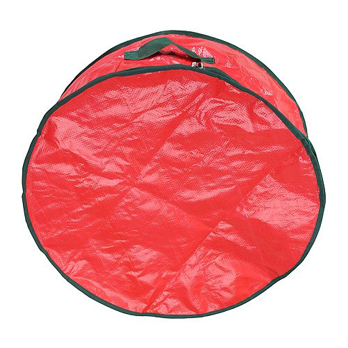 """24"""" rouge et vert de guirlande de Noël ronde sac de rangement"""