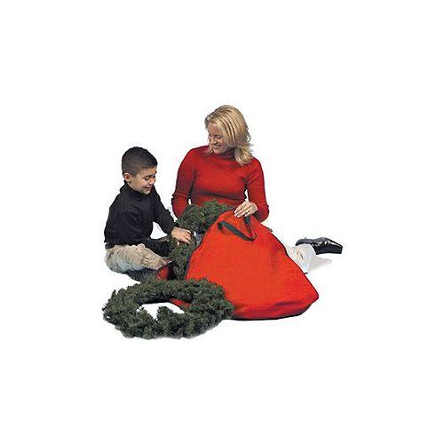"""36"""" Heavy Duty polyester rouge et noir zip couronne sac de rangement de Noël"""