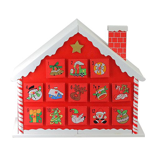"""10.25"""" Red and White Advent House with Chimney Storage Box"""