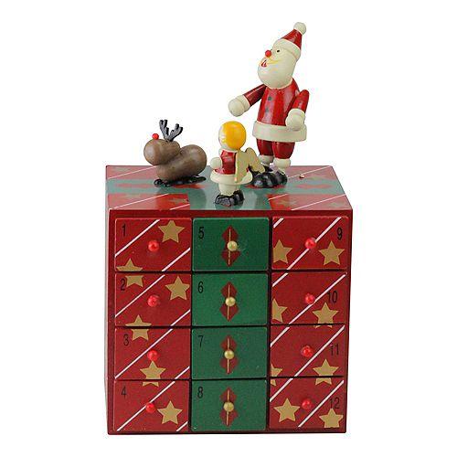 "10.5"" Red and Green Elegant Advent Storage Calendar Box"