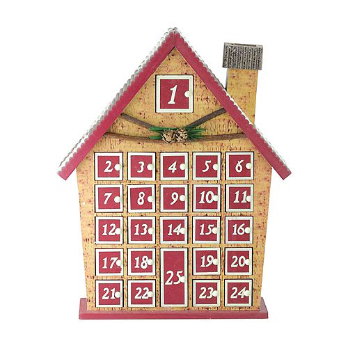 "Northlight 15"" Red and Beige House with Advent Calendar Tabletop Christmas Decoration"