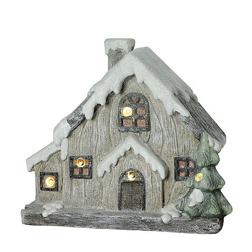 """Northlight 12"""" LED Lighted Battery Operated Rustic Glittered House Tabletop Christmas Decor"""